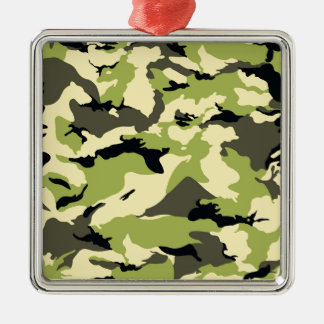military camouflage pattern Silver-Colored square decoration