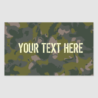 Military camouflage rectangular sticker