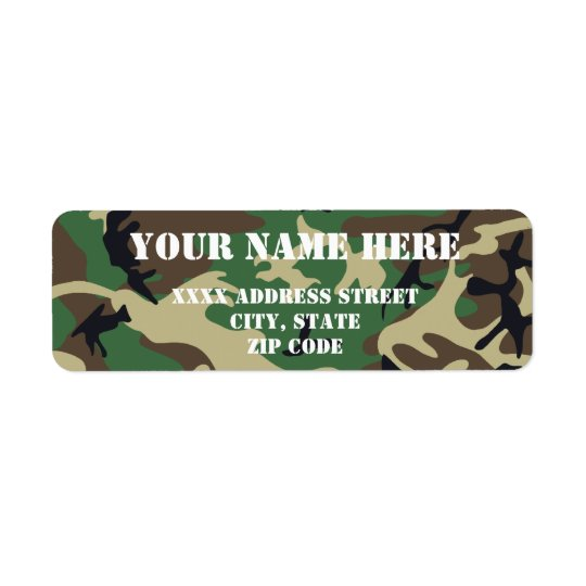 Military Camouflage Return Address Label