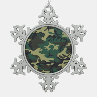 Military Camouflage Snowflake Pewter Christmas Ornament