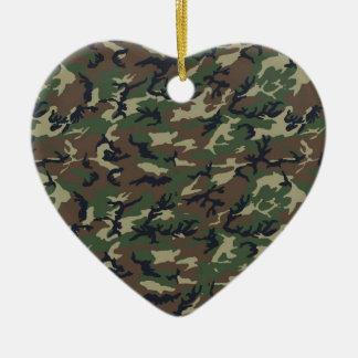 Military Camouflage Woodland Ceramic Heart Decoration