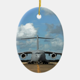 Military cargo plane landing ceramic oval decoration