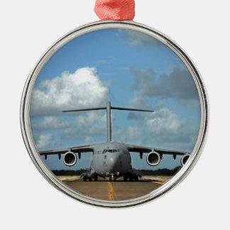 Military cargo plane landing christmas ornament