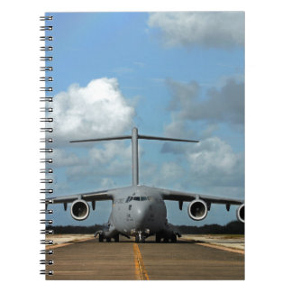 Military cargo plane landing notebook