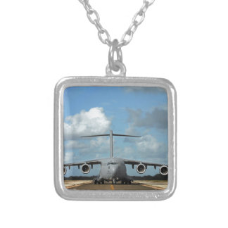 Military cargo plane landing silver plated necklace