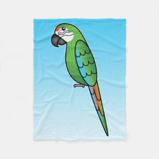 Military Cartoon Macaw Parrot Bird Fleece Blanket