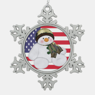 Military Christmas Snowman And USA Flag Pewter Snowflake Decoration