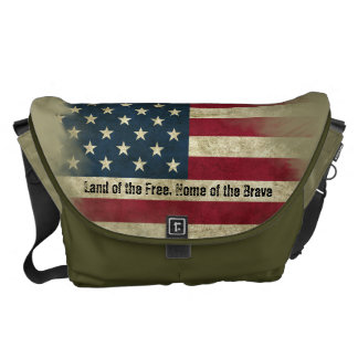 Military Colors US Flag. Home of the Brave Courier Bag