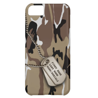 Military Desert Camo w/ Dog Tag Cover For iPhone 5C