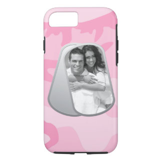 Military Dog Tags and Pink Camouflage Pattern iPhone 7 Case