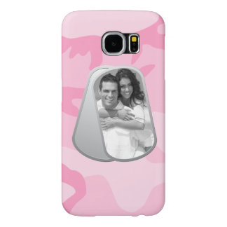 Military Dog Tags and Pink Camouflage Pattern Samsung Galaxy S6 Cases