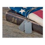 Military Dog Tags on Bible with flag Postcard