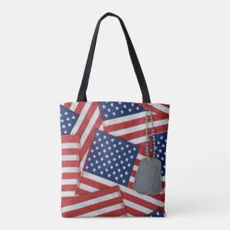 military dog tags on flags tote bag