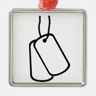 Military Dog Tags. Silver-Colored Square Decoration