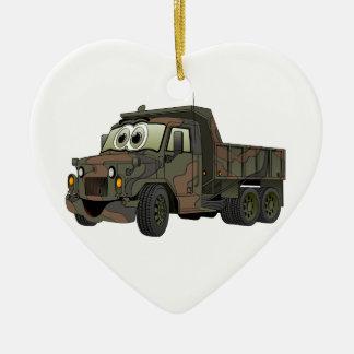 Military Dump Truck Cartoon Ceramic Heart Decoration