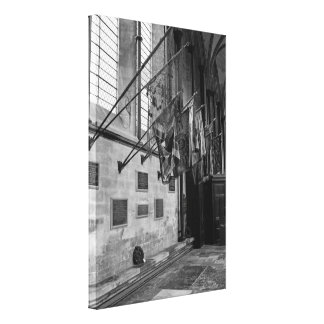 Military flags inside Salisbury Cathedral England Canvas Print