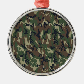 Military Forest Camouflage Background Silver-Colored Round Decoration
