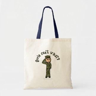 Military Girl - Blonde Budget Tote Bag