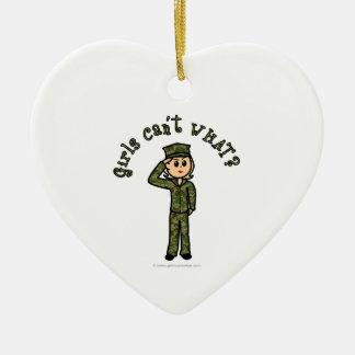 Military Girl - Blonde Ceramic Heart Decoration