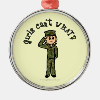 Military Girl - Blonde Round Metal Christmas Ornament