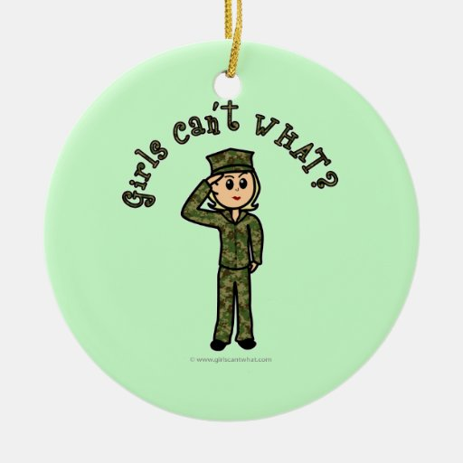 Military Girl - Blonde Christmas Ornaments