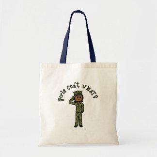 Military Girl - Dark Budget Tote Bag