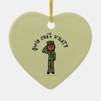 Military Girl - Dark Ceramic Heart Decoration