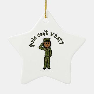 Military Girl - Dark Ceramic Star Decoration
