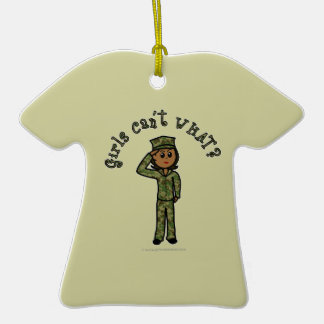 Military Girl - Dark Double-Sided T-Shirt Ceramic Christmas Ornament