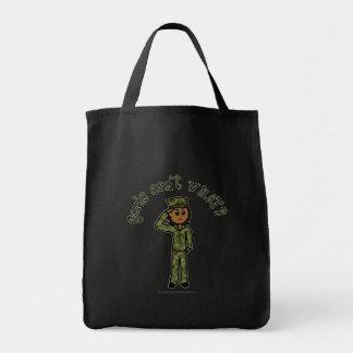 Military Girl - Dark Grocery Tote Bag