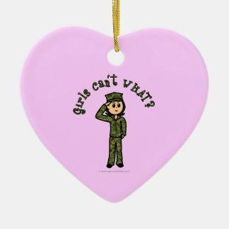 Military Girl - Light Ceramic Heart Decoration