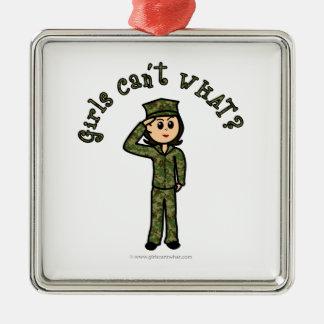 Military Girl - Light Christmas Ornaments