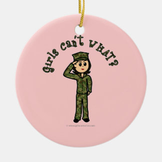 Military Girl - Light Double-Sided Ceramic Round Christmas Ornament