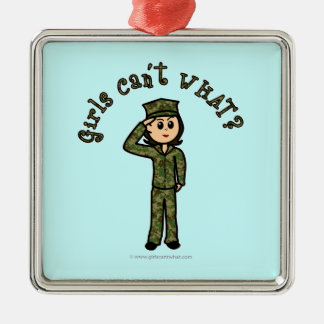 Military Girl - Light Silver-Colored Square Decoration