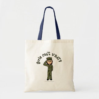 Military Girl - Red Hair Tote Bag