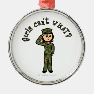 Military Girl - Red Hair Christmas Ornament