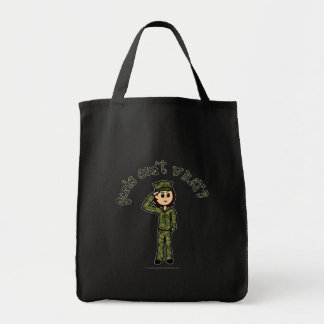 Military Girl - Red Hair Grocery Tote Bag