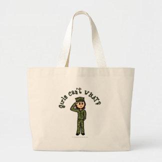 Military Girl - Red Hair Jumbo Tote Bag