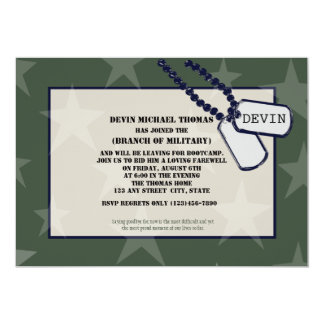 Military Going Away Party Green Stars 13 Cm X 18 Cm Invitation Card