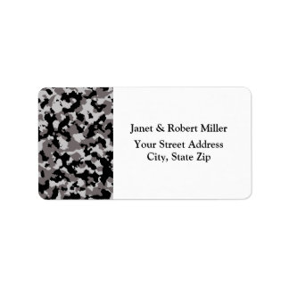 Military Gray Camouflage Pattern Address Label