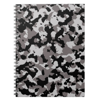 Military Gray Camouflage Pattern Spiral Note Books
