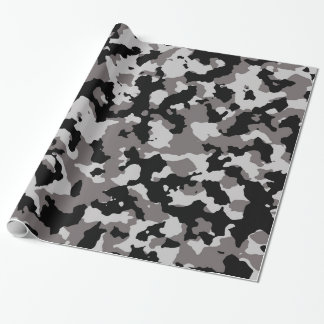 Military Gray Camouflage Pattern Wrapping Paper