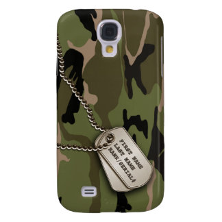 Military Green Camo w/ Dog Tag Galaxy S4 Case