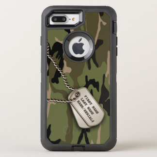 Military Green Camo w/ Dog Tag OtterBox Defender iPhone 7 Plus Case