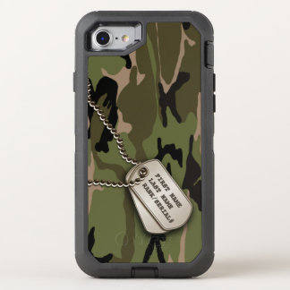 Military Green Camo w/ Dog Tag OtterBox Defender iPhone 8/7 Case