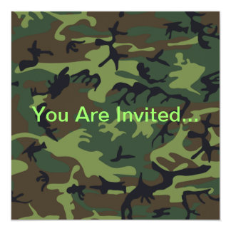 Military Green Camouflage 13 Cm X 13 Cm Square Invitation Card