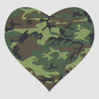 Military Green Camouflage Heart Sticker