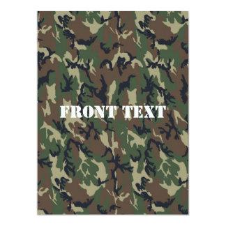 Military Green Camouflage Pattern 17 Cm X 22 Cm Invitation Card