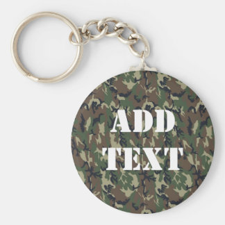 Military Green Camouflage Pattern Basic Round Button Key Ring