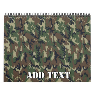 Military Green Camouflage Pattern Calendar